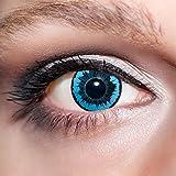 KwikSibs farbige blaue Kontaktlinsen Engelsaugen 1 Paar (= 2 Linsen) weiche Funlinsen inklusive Behälter (Stärke / Dioptrie: 0 (ohne))