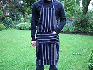 High Quality Striped Bib Apron With Pocket in Navy Blue - Free Delivery.