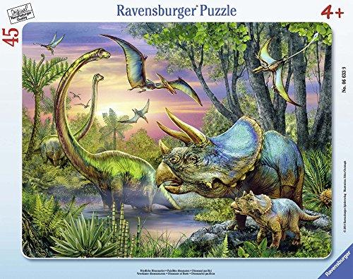 Ravensburger 06633 - Friedliche Dinosaurier, 45 Teile Rahmenpuzzle - 24 Dinosaurier-puzzle Stück