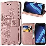 Galaxy A5 2017 Hülle, kazineer Samsung A5 2017 Handyhülle Leder Tasche Schutzhülle Blume Muster Etui für Samsung Galaxy A5 2017 Case (Pink-gold)