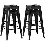 Yaheetech 4er Set Barhocker Metall - Barstuhl Bistrohocker Tresenhocker Stuhl schwarz, Max. Belastbarkeit: ca. 150 Kg