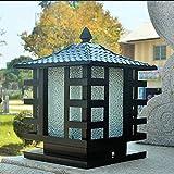 XAJGW Traditionelle antike Bronzesäule beleuchtet quadratisches Äußeres Türspaltenscheinwerfer-wetterfeste robuste Säule beleuchtet dekorative Gartentor-Parkgarage-Außen-Außenposten-Laterne