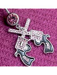 VANKER Joyería de los anillos del vientre de acero inoxidable con Encanto 2pcs Navel cuelga la perforación del cuerpo--Rosa