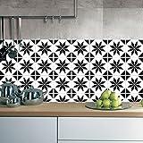 JY ART ZYX Fliesenaufkleber Dekorative Wandgestaltung mit Fliesenaufklebern für Küche und Bad, Deko-Fliesenfolie für Küche u. Bodenaufkleber Schwarz-Weiß-Retro CZ054, 20cm*100cm*2pcs