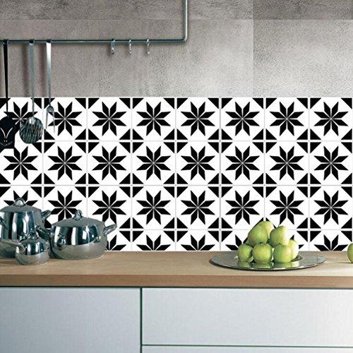 ZYX Stickers muraux carreaux en Vintage salle de bain et cuisine | adhésif sticker feuille pour carreaux salle de bain et crédence Autocollant de plancher Rétro noir et blanc CZ054 , 20cm*100cm*2pcs
