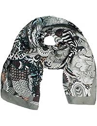 Mevina Damen Schal Seide Paisley Blumen Retro Vintage Print Muster groß Tuch Halstuch Premium Qualität
