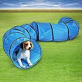 GOTOTOP Hundetunnel Agilitytunnel Spieltunnel Hunde Katzen Training Tunnel blau