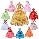 ASIV 10er Packung handgemacht Weich komfortabel Brautkleid Ballkleid Abendkleid Kleidung für Barbie Puppen Weihnachten Geschenk, Zufälliger Stil