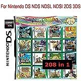 YOUFAN 208 in 1 Gioco su Grande Scala - Compilations Video Game DS Cartridge Card - Modello Compatibile Nintendo Dual Screen, Nintendo 3DS - Scheda Console Videogioco DS Cartucce - Inglese