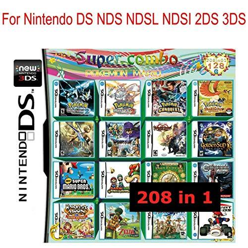 YOUFAN 208 in 1 großes Spiel - Zusammenstellungen Videospiel DS-Cartridge-Karte - Kompatibles Modell Nintendo Dual Screen, Nintendo 3DS - Videospiel-DS-Cartridge-Konsolenkarte - Englisch