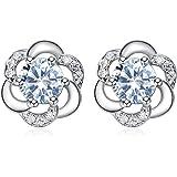 Jösva Juego de joyas de plata para mujer, plata de ley 925 con circonita cúbica 5A, collar con colgante de flor con cadena de
