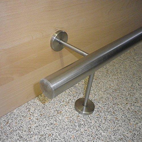 Edelstahl Bar-/Tresen-/Fußstange Ø 42,4 mm (aus einem Stück/ungeteilt) (280cm 3 Edelstahl-Halter)