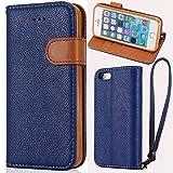 Custodia iPhone 5 - Cover iPhone 5s - LANOU iPhone SE Flip Cover Custodia in pelle Portafoglio Protettiva Case per iPhone 5 / SE / 5s – Blu immagine