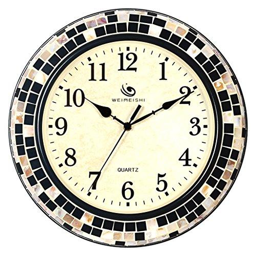 Plum Open Wanduhr, offen, batteriebetrieben, europäischer Stil, kreative Wanduhr, Wohnzimmer, 38,1 cm, Metallgehäuse, dekorierte Wanduhr, Atmosphärische minimalistische Glas-Geräusch-Uhr