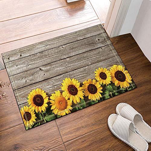 yinyinchao Floral Dekorative Sonnenblume Holz Bad Teppich,Outdoor Indoor Anti-Rutsch-Fußmatte,Kinder Bad Teppich,40X60Cm,Home Decoration