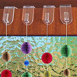 Lot de 20 crochets de fen tre porte transparent d coration for Decoration de noel amazon