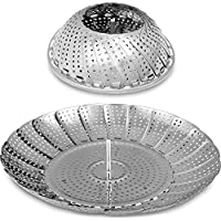 Acero Inoxidable Cesta Vaporera Plegable - 18 x 28 cm - Apto para Diversos Tamaños de Ollas por Utopia Kitchen