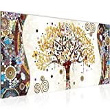 Tableau decoration murale Gustav Klimt - Arbre de vie 100 x 40 cm XXL Impression sur Toile Salon Appartment 1 parties - prêt à accrocher 004612a