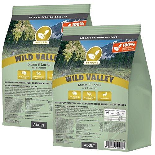 NATURAL   Wild Valley   2 x 15 kg   Lamm + Lachs + Kartoffel   getreidefreies Hundefutter   Trockenfutter für alle Hunderassen   viel frisches Fleisch   artgerecht & besonders gut verträglich
