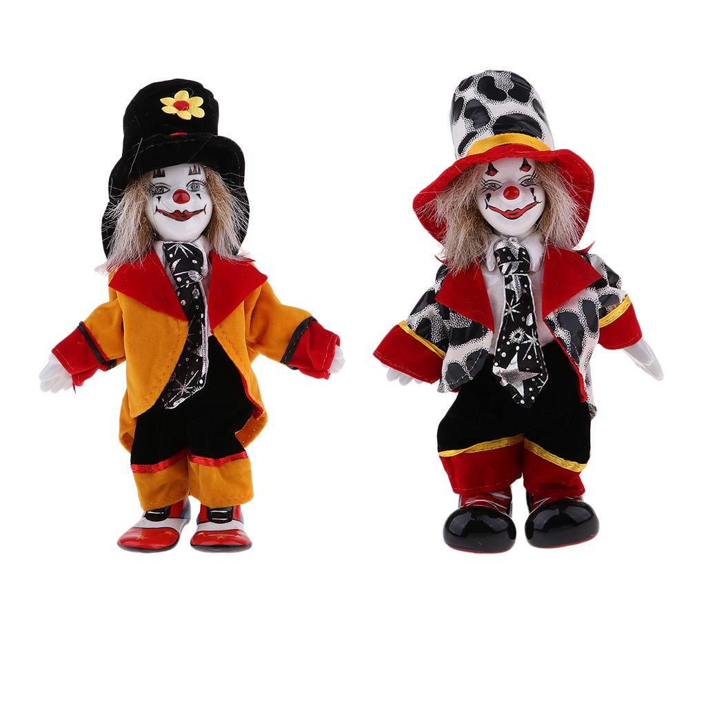 Fenteer 2 Stück Mini Halloween Clown Kostüm Porzellanpuppe Im Bunten Kostüm Dekofiguren Geburtstagsgeschenk - #1