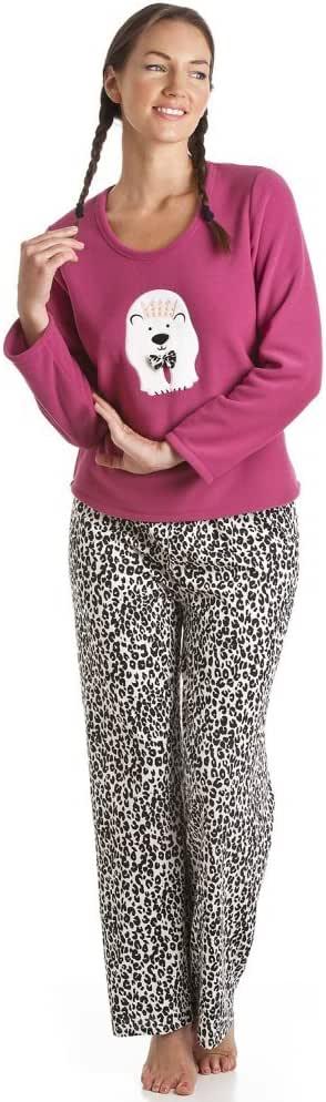 Camille Pyjama en Polaire - Motif Ours Blanc - Rose