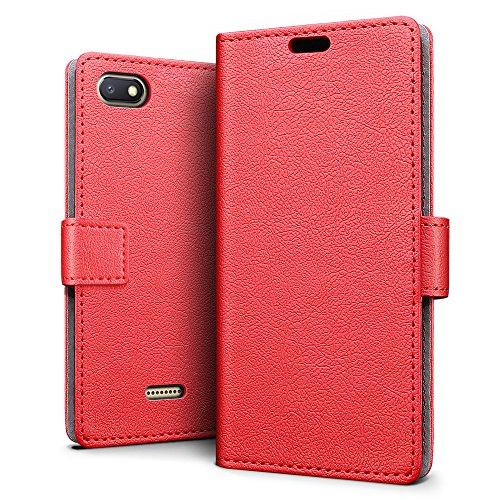 SLEO Xiaomi Redmi 6A Hülle, PU Leder Case Tasche Schutzhülle Flip Case Wallet im Bookstyle für Xiaomi Redmi 6A Cover - Rot