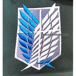 Ali della Libertà, zaino ricamato nero con lo stemma, Shingeki no Kyojin Attack on Titan Attacco dei Giganti