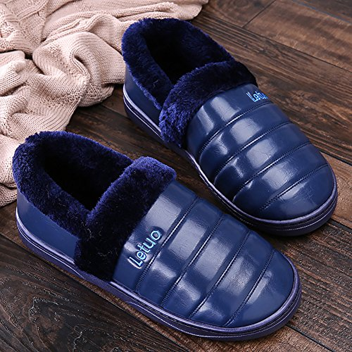 SK Studio Unisex Pantofole a Stivaletto Peluche Antiscivolo Chiuse Scarpe Per Casa Blu scuro