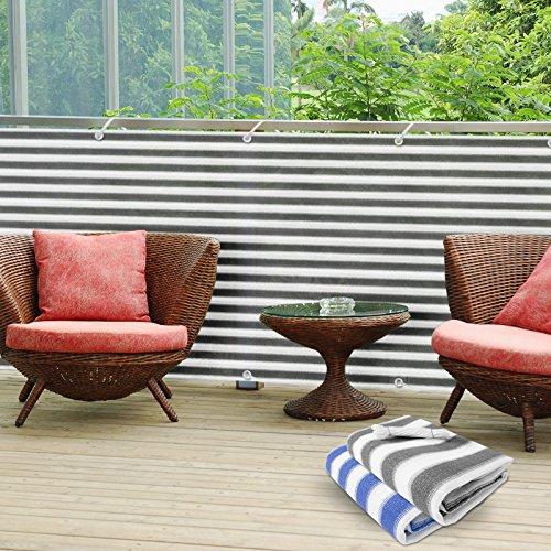 Divisorio da balcone in PVC casa pura®   Separè protettivo   Grigio/Bianco   90x500 cm