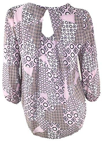 #769 Damen Bluse Tunika Basic Viskose Langarm 36 38 40 Onesize Rosa