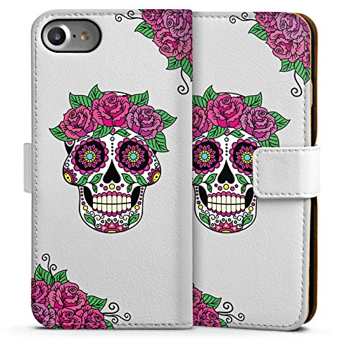 Apple iPhone 6 Plus Silikon Hülle Case Schutzhülle Skull Frauen Totenkopf Blumen Sideflip Tasche weiß