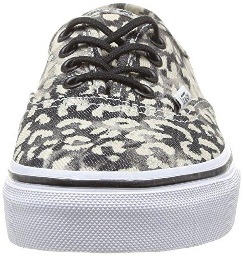 Vans K AUTHENTIC - Washed Unisex-Kinder Sneaker Schwarz (Noir (Leopard/Black))