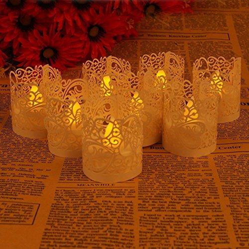 50 tück Led Papier Teelichthalter Teelicht Oder Votivkerze Kerze Halter Deko Motiv Papier Wrapper Kerzenhalter Teelichthalter Halter für Teelichter Gartenlicht Windlicht Halter Weihnachten Wohnung Zimmer Deko Tischdeko (Weiß)