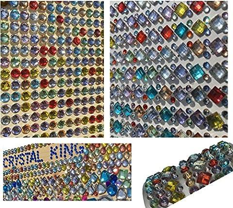 1380 Stück glitzernde Strasssteine selbstklebend rund + eckig quadratisch bunt