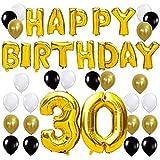 KUNGYO Letras Tipo Balón Doradas Happy Birthday+Número 30 Mylar