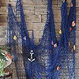 KING DO WAY Chemin De Table Filet De Pêche Avec ANCRE Et COQUILLES Décoratif Décoration Murale Suspendue Maison Marine Méditerranéen Decorative Fish Net Bleu 200cmX150cm