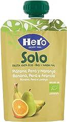 Hero Solo Bolsita de plátano, pera y naranja Ecológicos 100 gr