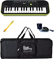 Casio SA-46 Mini Keyboard-32 Keys With Adapter & Blueberry Bag Along With One Blueberry USB LED