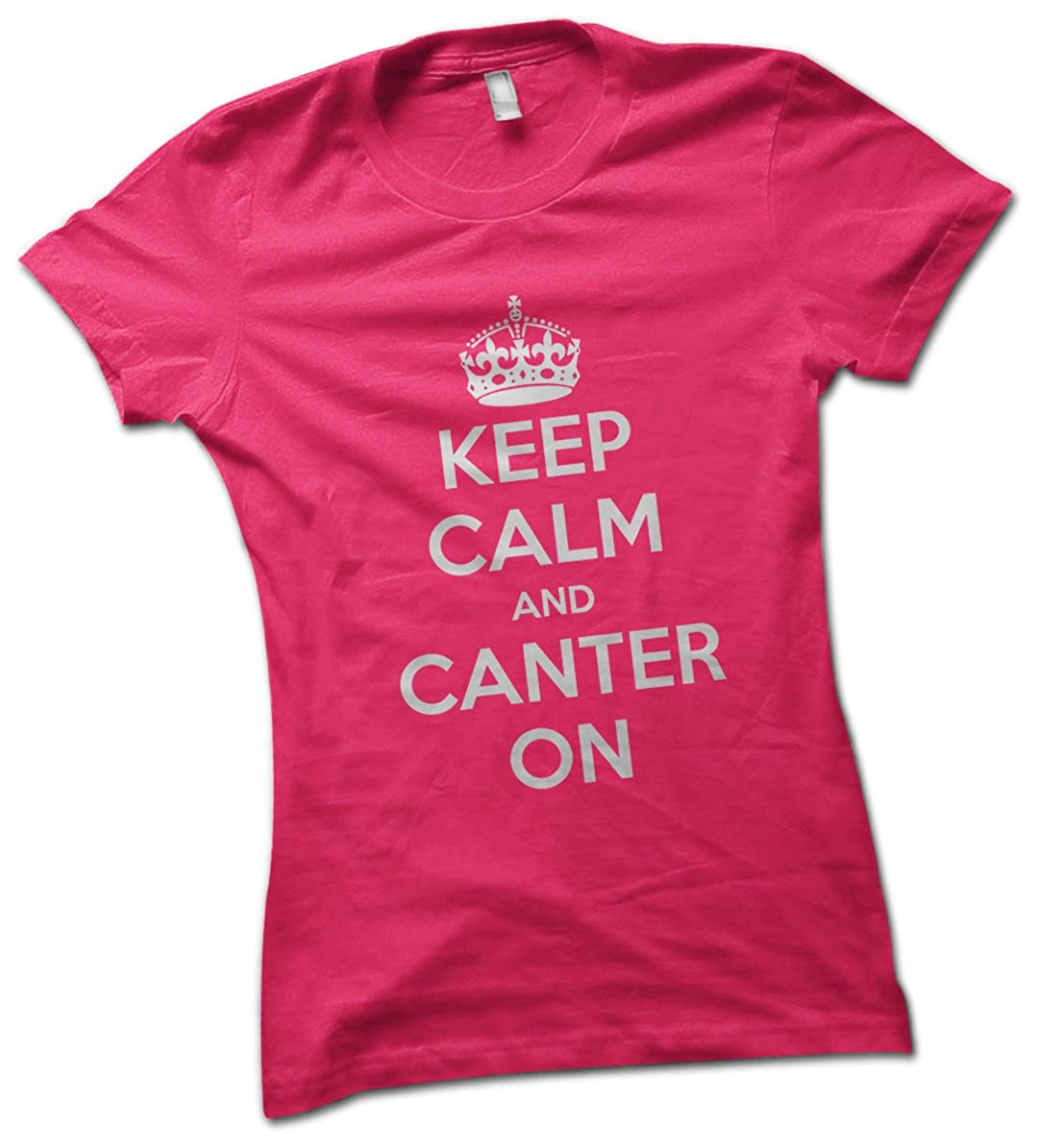 Keep Calm And Canter On Horse Rider Stunt Funny Ladies New T-shirt Present Gift