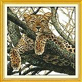 Kreuzstich Stickpackung Stickbild Stickvorlage Sticken Vordruck Gepard 52×52cm