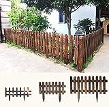SL&ZX Valla de madera sólida,Madera malla de seguridad jardín carbonizado telescópica cerca de la barandilla madera de la cerca del jardín-H 122x90cm(48x35inch)