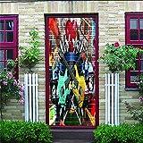 JIAOYK 3D Sticker de Porte Trompe l'oeil Guitare PVC Imperméable Vinyle Mural Amovible Poster ScèNe pour Chambre Salle de Bain Cuisine Décoration 77x200cm