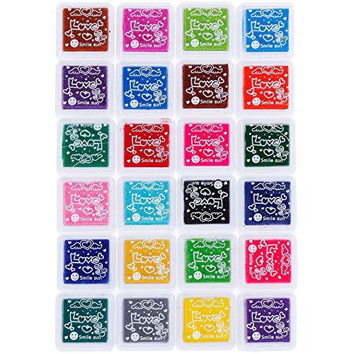 Faburo 24 Farben Stempelkissen Set, Tinte Pads Stempel,Stamp Pad Fingerdruck für Papier Handwerk Stoff, Fingerabdruck,Scrapbook, Malerei