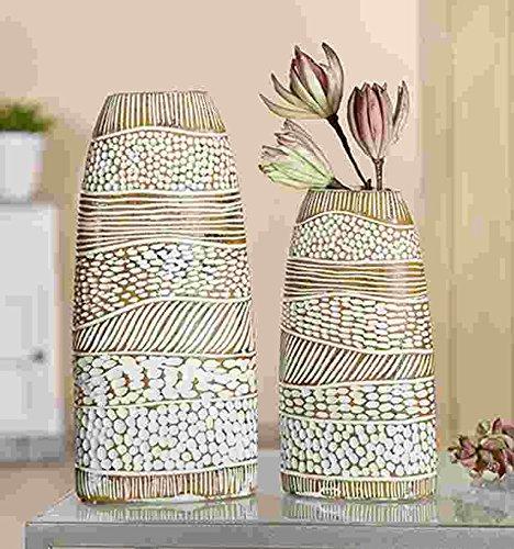 GILDE Poly Vase Ethno 2 Stück braun-Weiss gewischt L = 8 x B = 15 x H = 34 cm