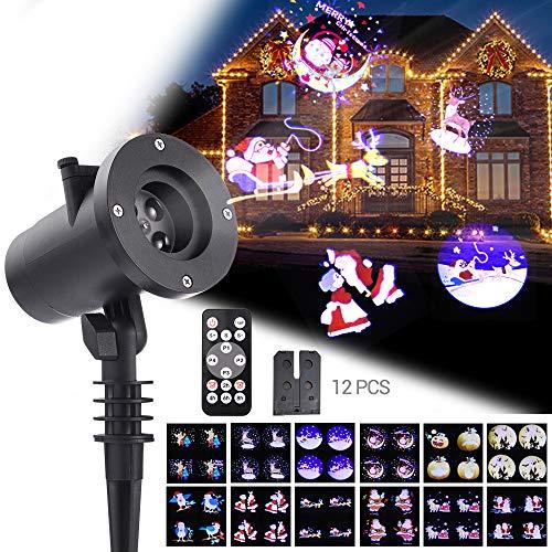 LED Projektionslampe,WOLFWILL Weihnachtsprojektor Lichter mit Fernbedienung und Timer,Wasserdicht Lichteffekt LED Dekolampe Stimmungsbeleuchtung für Weihnachten Party Geburstag Hochzeit