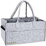 Kyson pañales organizador de cesta de fieltro de basura pañales toallitas para bebé bolsa de almacenamiento Caddy, guardería, compartimentos intercambiables, color gris