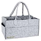 Kyson Lee Diaper Caddy Chambre d'enfant de stockage Bin Feutre Panier couches Organiseur Sac Lingettes pour bébé, avec compartiments interchangeables, gris