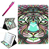 iPad 2/3/4 Case, iPad 4 Leather Case, JCmax Protective Cover [Card Slots] [Durable Cover] Flip Premium Foldable New Book Style PU Leather Wallet Kickstand Case Smart Cover Skin Protection For Apple iPad 2 / iPad 3 / iPad 4, Come with One Stylus - [Tiger Pattern Design]