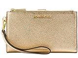 Michael Kors MICHAEL by Bedford Iphone 7 Case Geldbeutel aus Lede Gold| Geldbörsenetui mit versilbertem Reißverschluss uni Gold