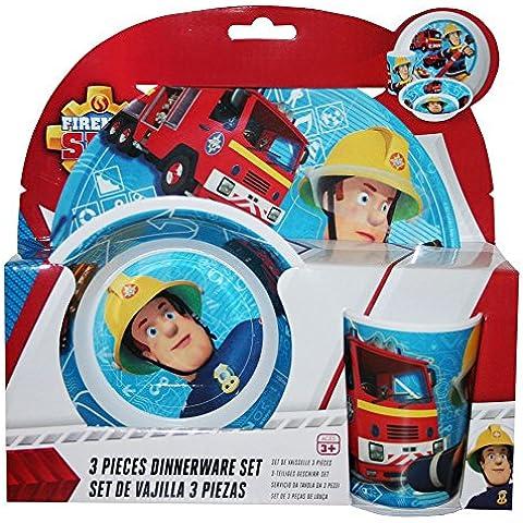 Sam il Pompiere - Fireman Sam - Set da Tavola (Piatto, Piatto Fondo, Bicchiere)